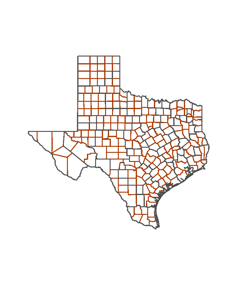 Texas Load Zone - Texas county map